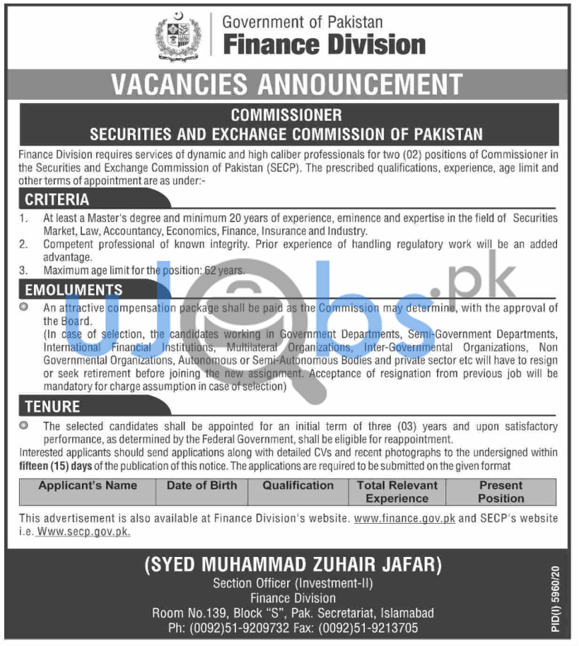 Jobs in Fainance Division For Commissioner in the Securities and Exchange Commission of Pakistan SECP 2021