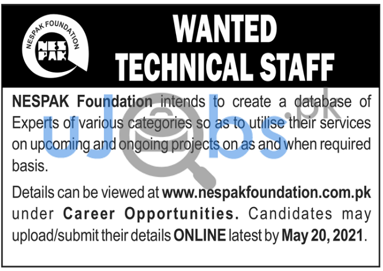 NESPAK Foundation Jobs in Lahore May 2021 For Technical Staff