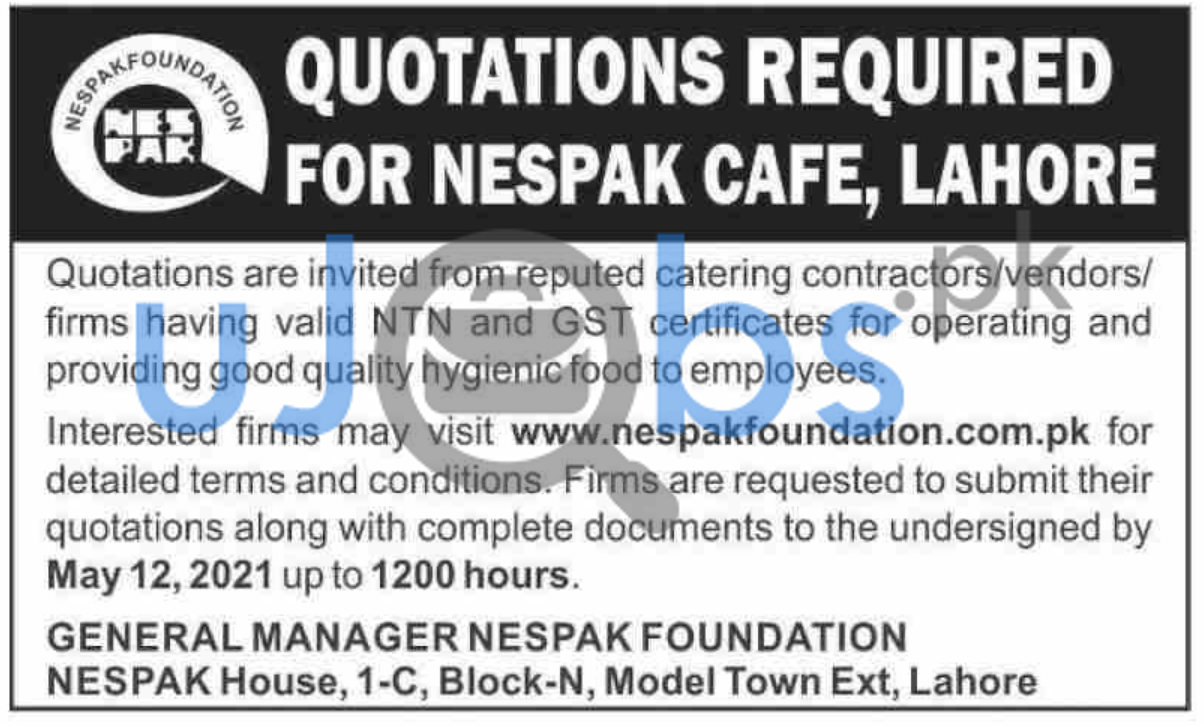 Quotations Job in NESPAK Cafe Lahore 2021