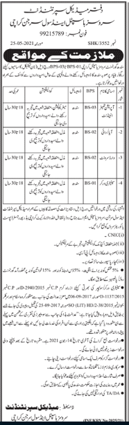 Sindh Government Services Hospital Jobs in Karachi 2021