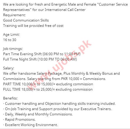 Male/Female Call Center Agents Part Time Jobs in Karachi 2021