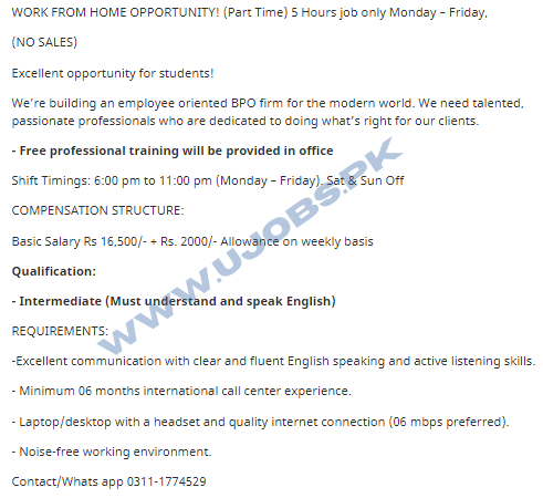Part Time Call Center Jobs For Students in Karachi 2021 Work From Home