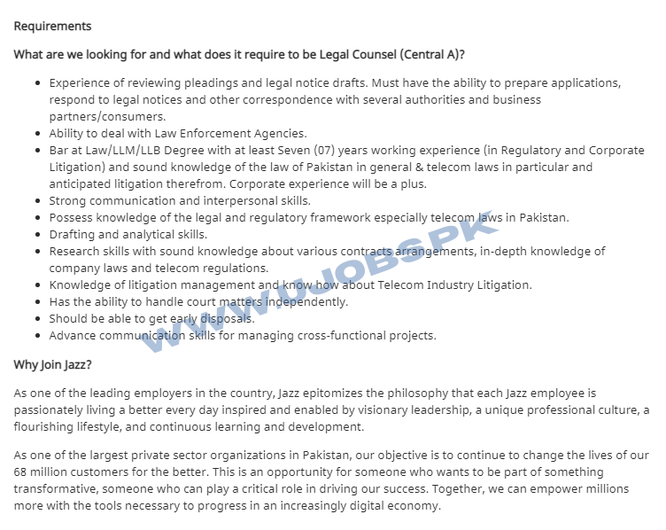 Legal Counsel Job in Jazz Telecom Lahore 2021