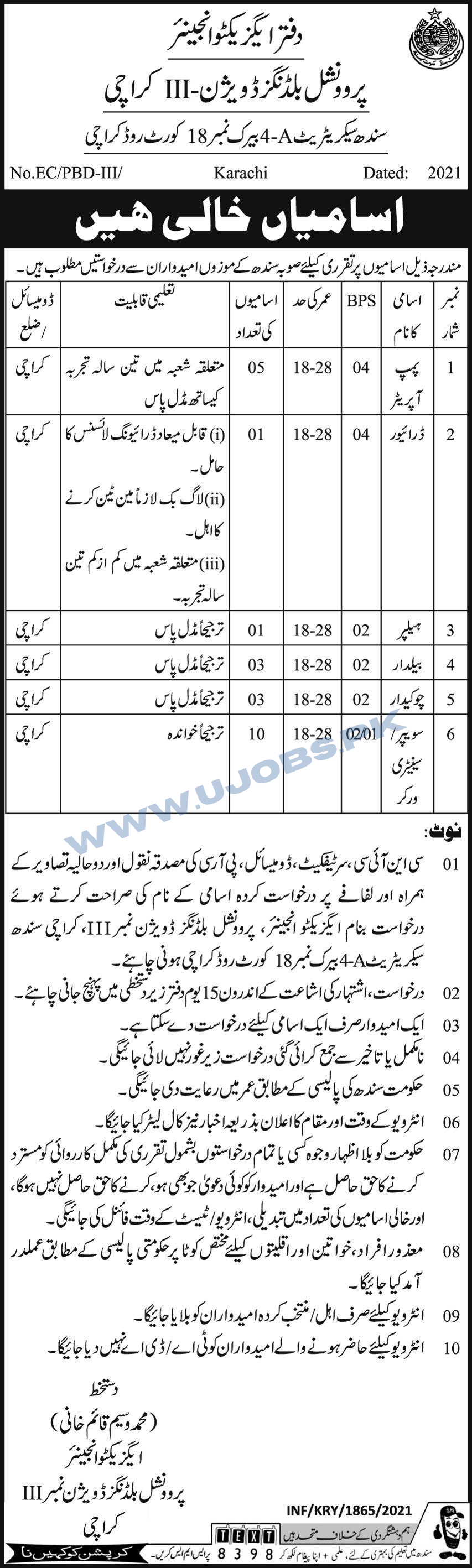 Government Jobs in Sindh at Provincial Buildings Division III Karachi 2021