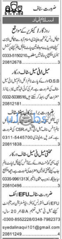 Male and Female Staff Jobs in Islamabad June 2021