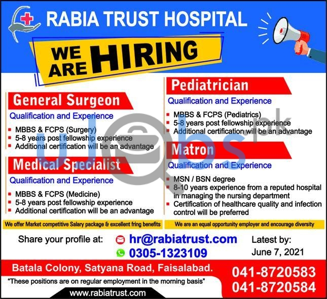 General Surgeon and Medical Specialist Jobs in Faisalabad Hospitals 2021