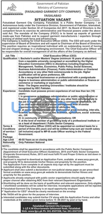 Full Time Chief Executive Officer CEO Jobs in Faisalabad 2021