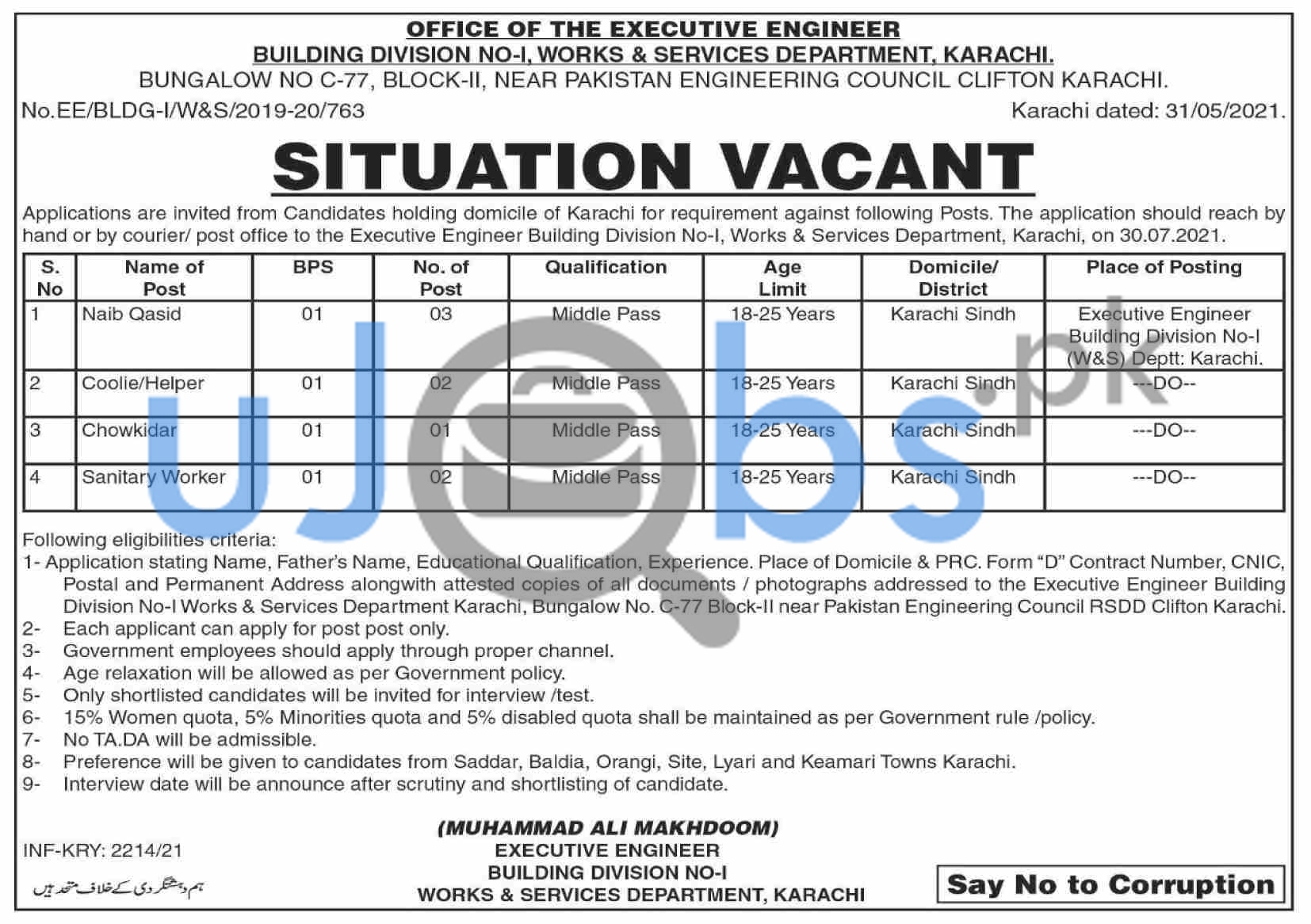 Sindh Government Works and Services Department Jobs in Karachi 2021