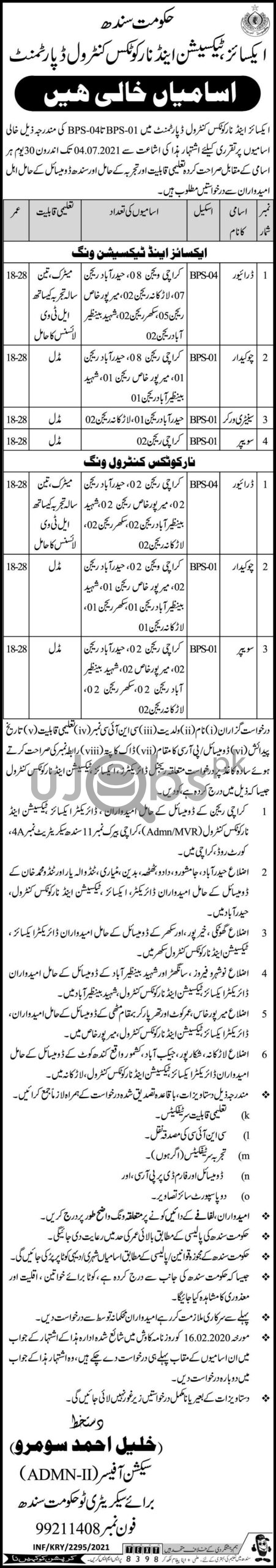 Sindh Government Excise Taxation and Narcotics Control Department Jobs in Karachi 2021