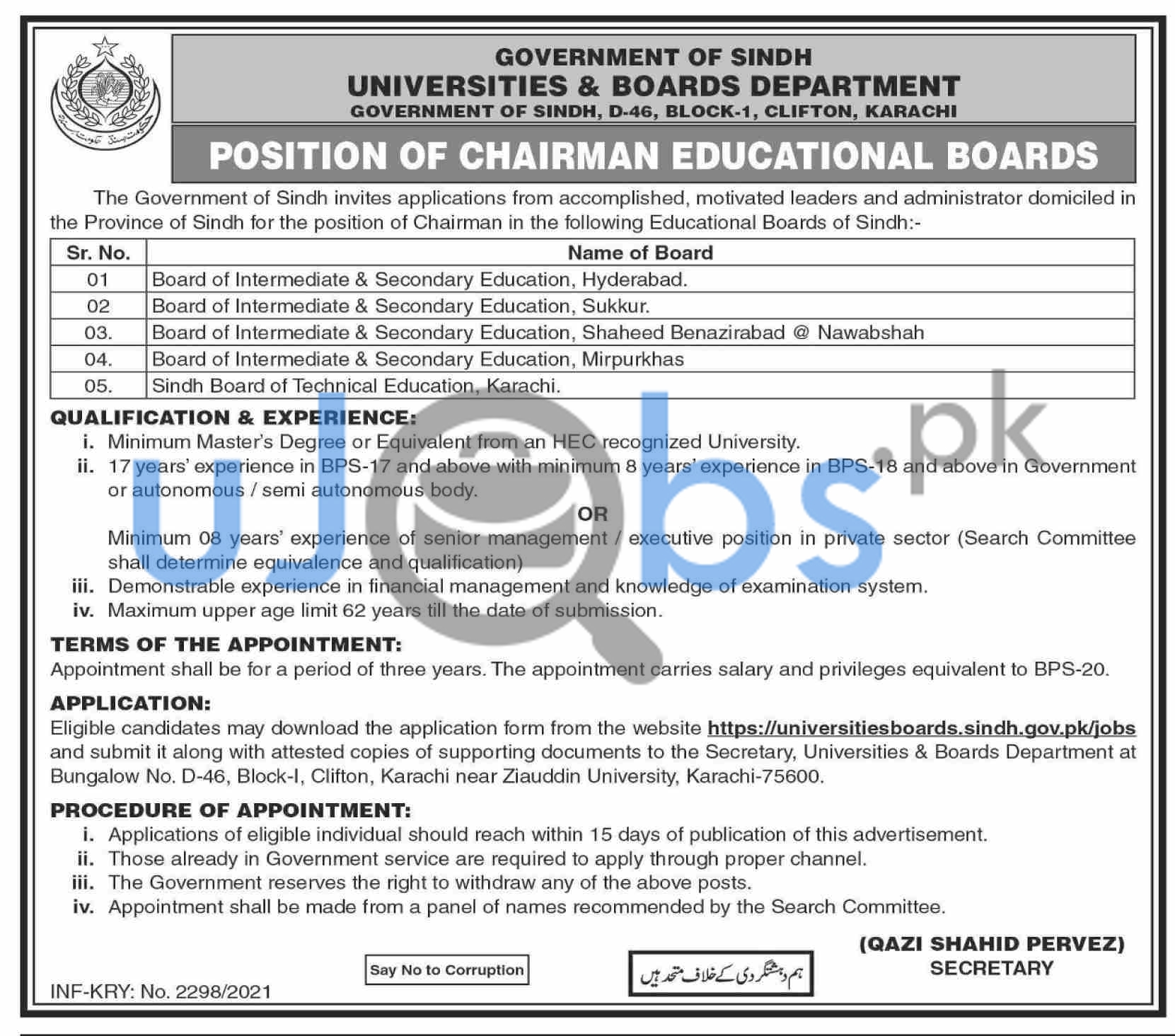 Chairman Educational Boards Jobs in Government Universities of Karachi 2021