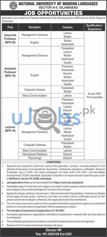 Government Lecturer Jobs in Islamabad June 2021