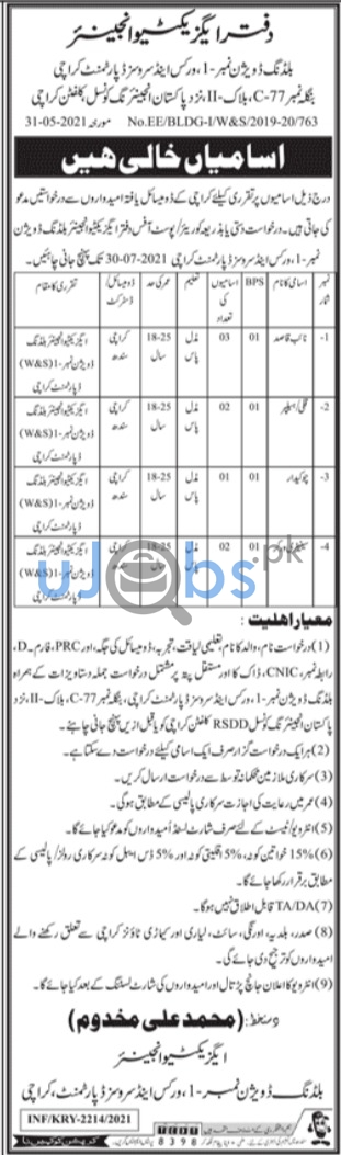 Sindh Government Jobs in Karachi June 2021 at Works and Services Department