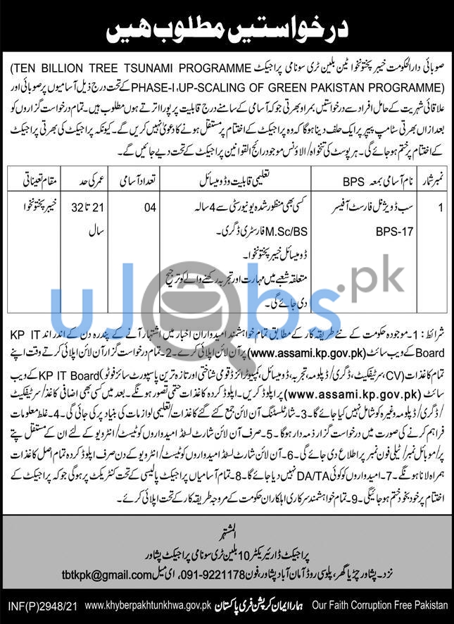 Government Sub Divisional Forest Officers Jobs in Peshawar 2021 with Salary