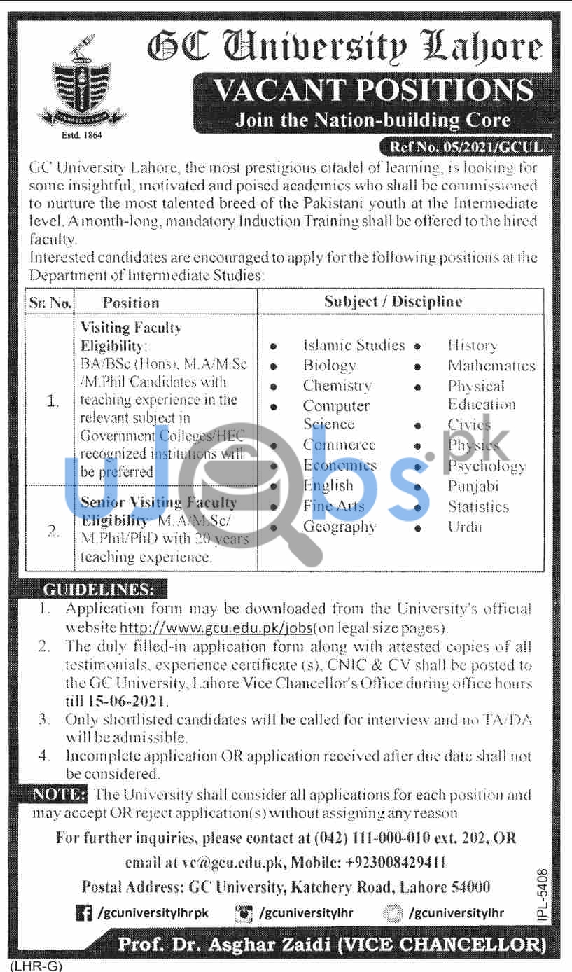 Male/Female Teaching Jobs in Lahore Government Colleges June 2021