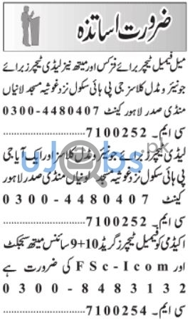 Male and Female Subject Teachers Jobs in Lahore 2021