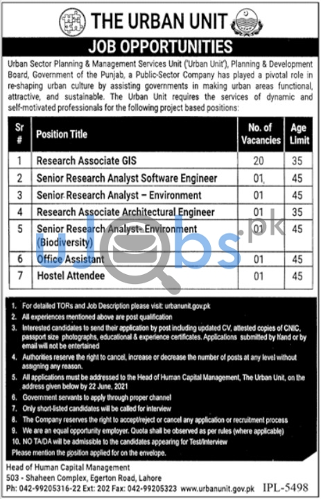 Male/Female Government Jobs in Lahore at Urban Unit 2021