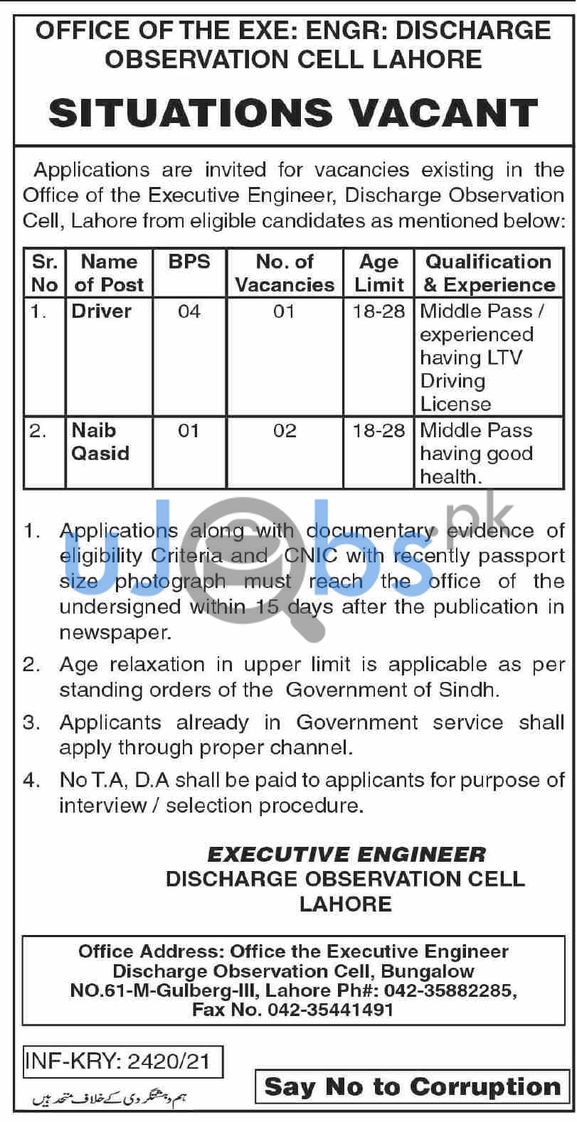 Government Driver Jobs in Lahore June 2021
