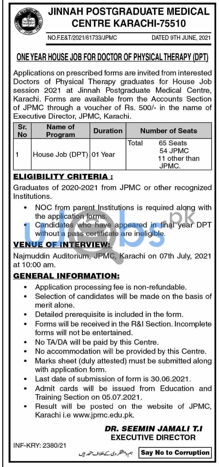 Sindh Government House Officers Jobs in Karachi 2021 Pakistan