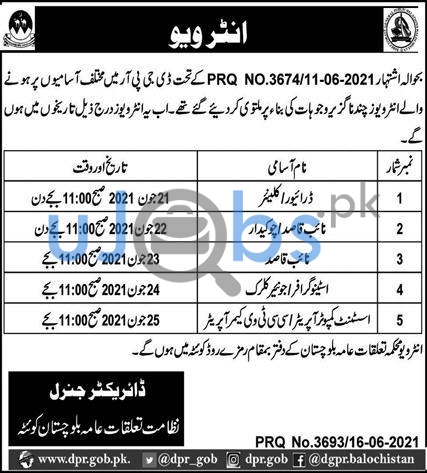 Government Jobs in Quetta 2021 at Public Relations Department