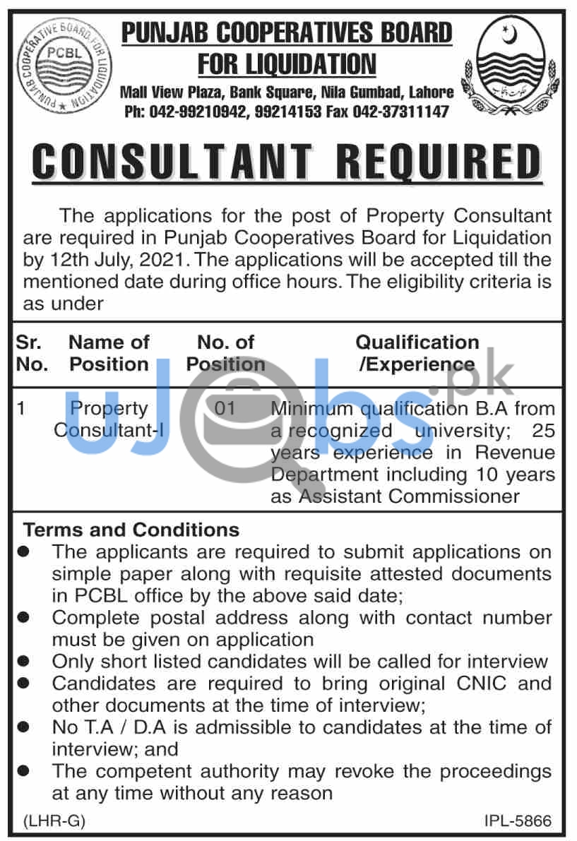 Government Property Consultant Jobs in Lahore 2021