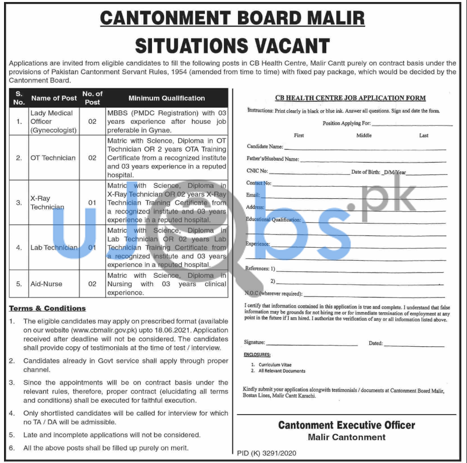 Medical Staff Cantonment Board Jobs in 2021