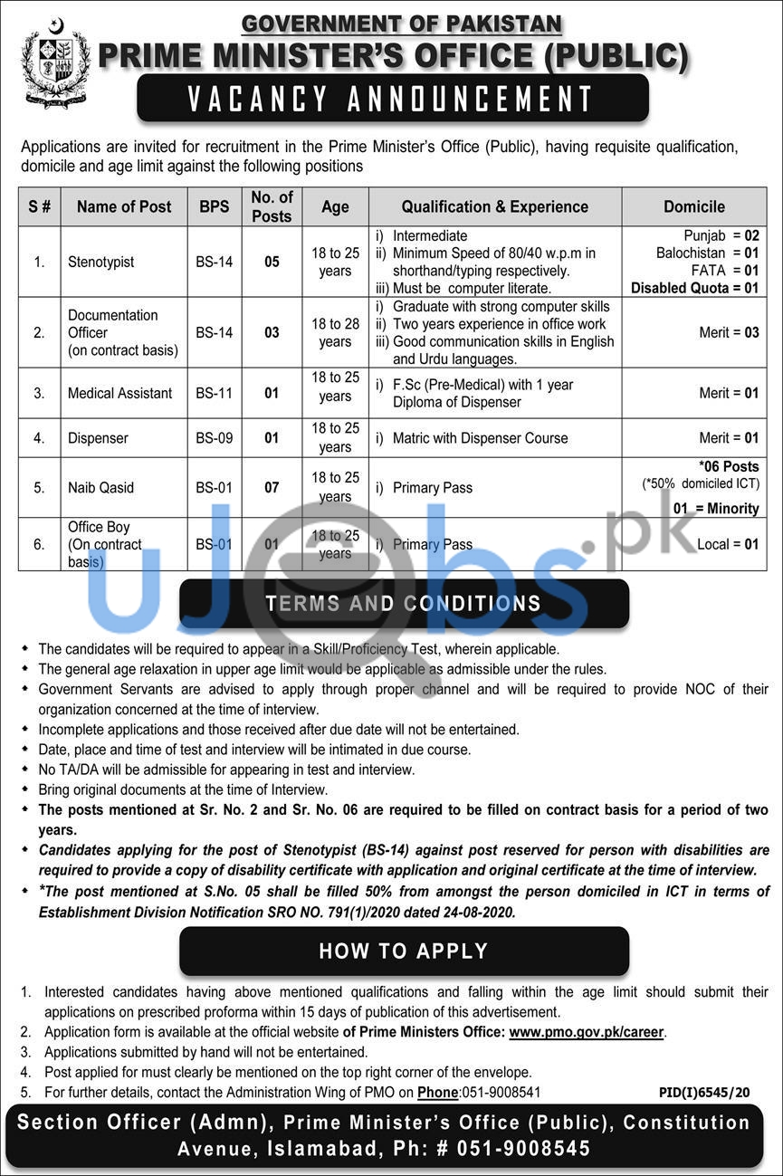Prime Minister Office PMO Government Jobs in Islamabad 2021