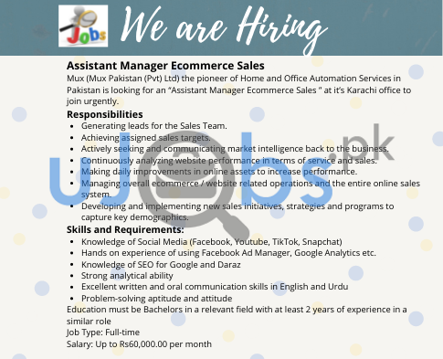 Full time Assistant Manager Ecommerce Sales Online Jobs in Karachi June 2021