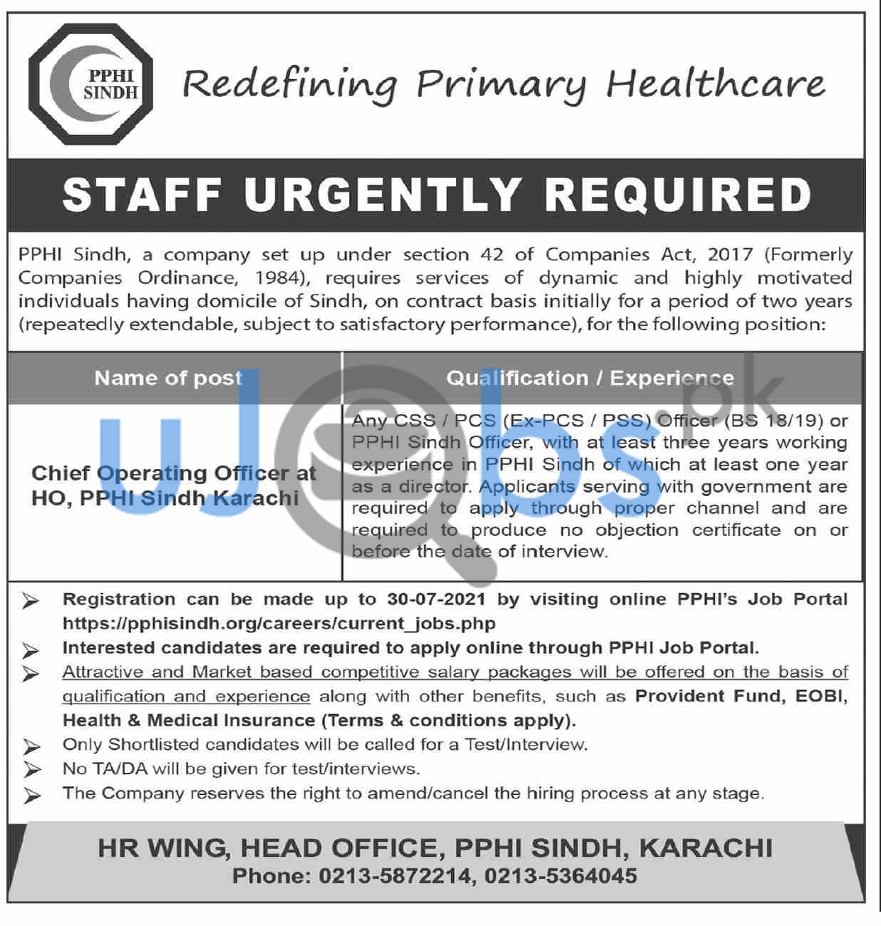 Chief Operating Officer Jobs in Karachi 2021