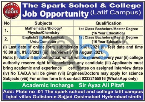 Private Teaching Jobs in Hyderabad Sindh 2021