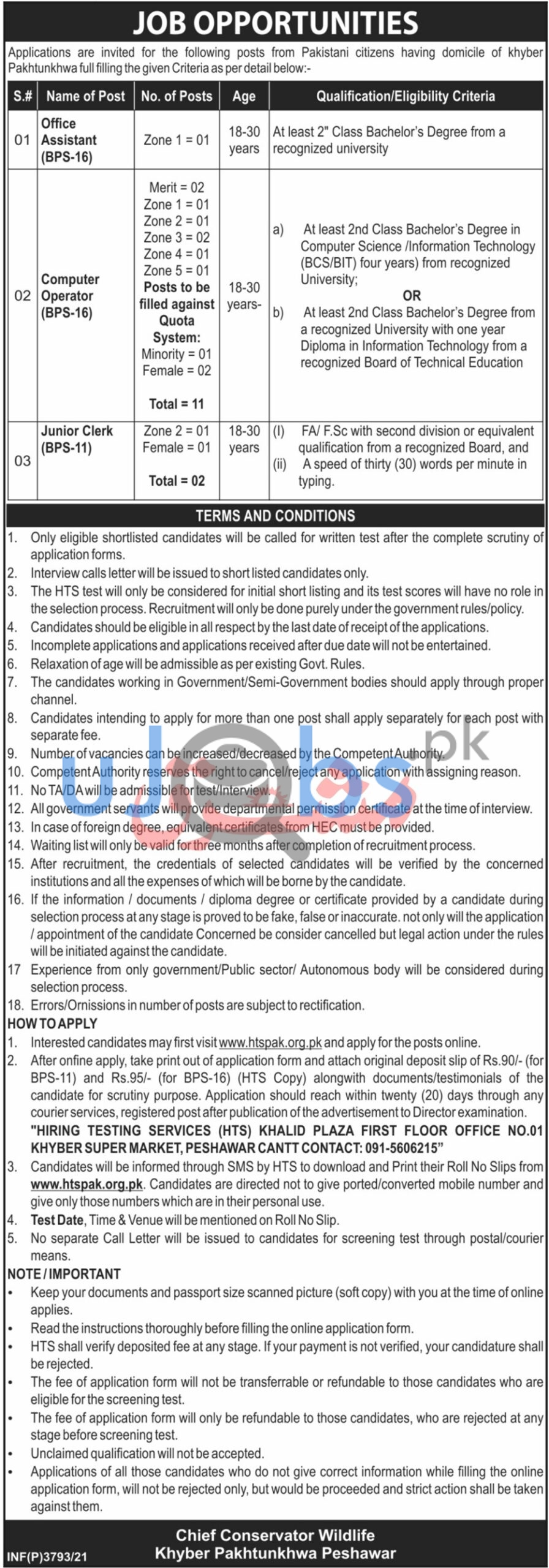 KPK Government Jobs 2021 at Forestry Environment and Wildlife Department