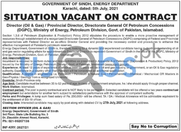 Sindh Government Jobs 2021 at Energy Department