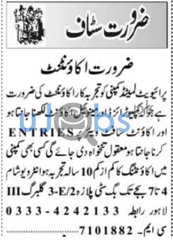 Male/Female Staff Jobs in Lahore July 2021