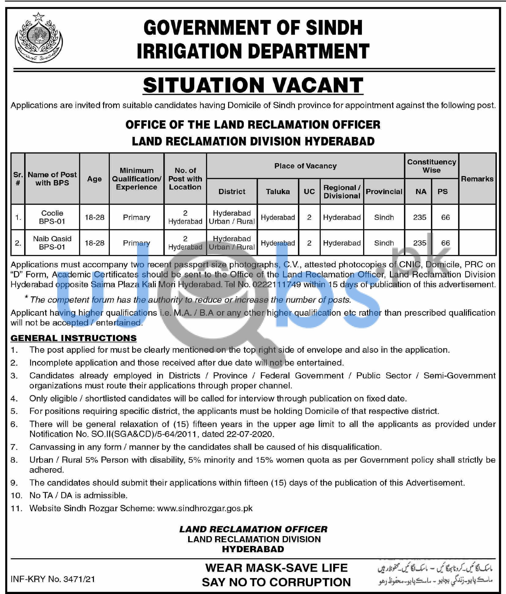 Government of Sindh Irrigation Department Hydrabad Jobs 2021