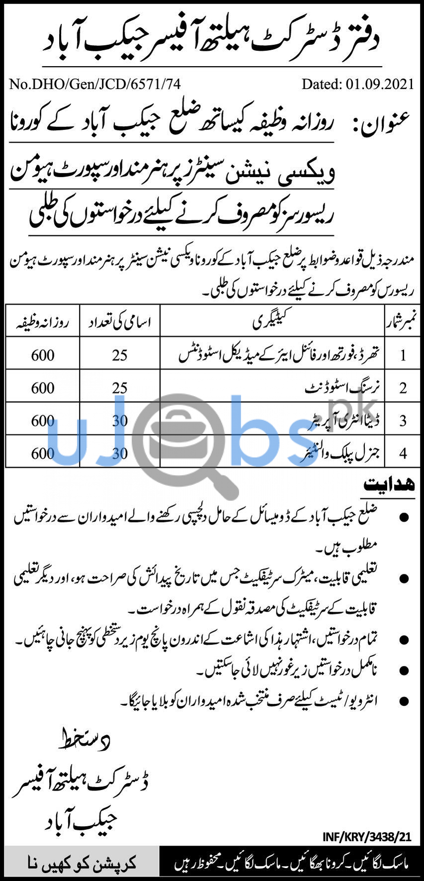 District Health Officer DHO Jobs 2021 For Students