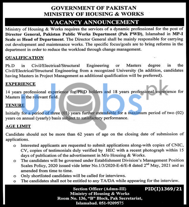Ministry Of Housing And Works MOHW Jobs 2021