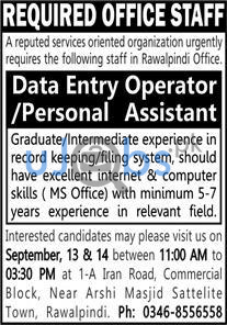 Data Entry Operator and Personal Assistant Jobs in Islamabad 2021