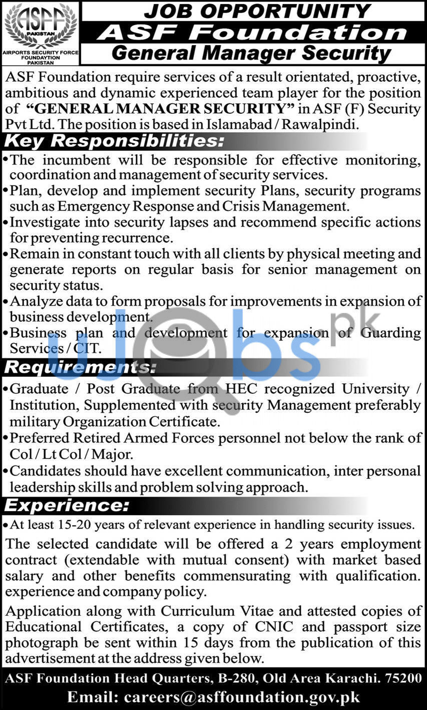 Airport security force ASF jobs 2021 advertisements