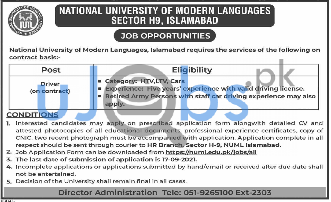 Driver Jobs in NUML Islamabad 2021 - National University of Modern Languages