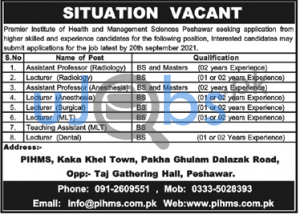 Latest Pihms jobs 2021 - Premier institute of health and management sciences advertisement