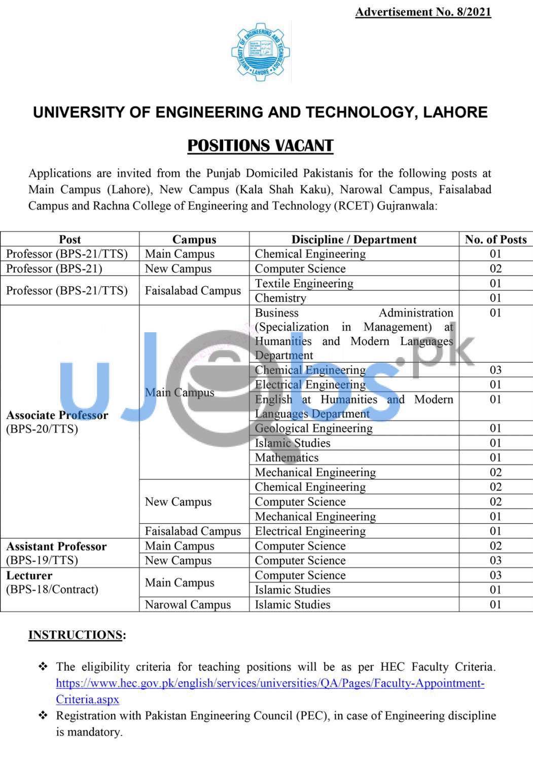 Latest University of Engineering and Technology UET Lahore Jobs 2021 Advertisement