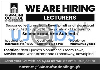 Science and Arts Subjects Lecturer Jobs 2021