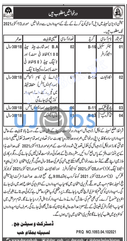 Latest District and session courts jobs 2021 Lasbela