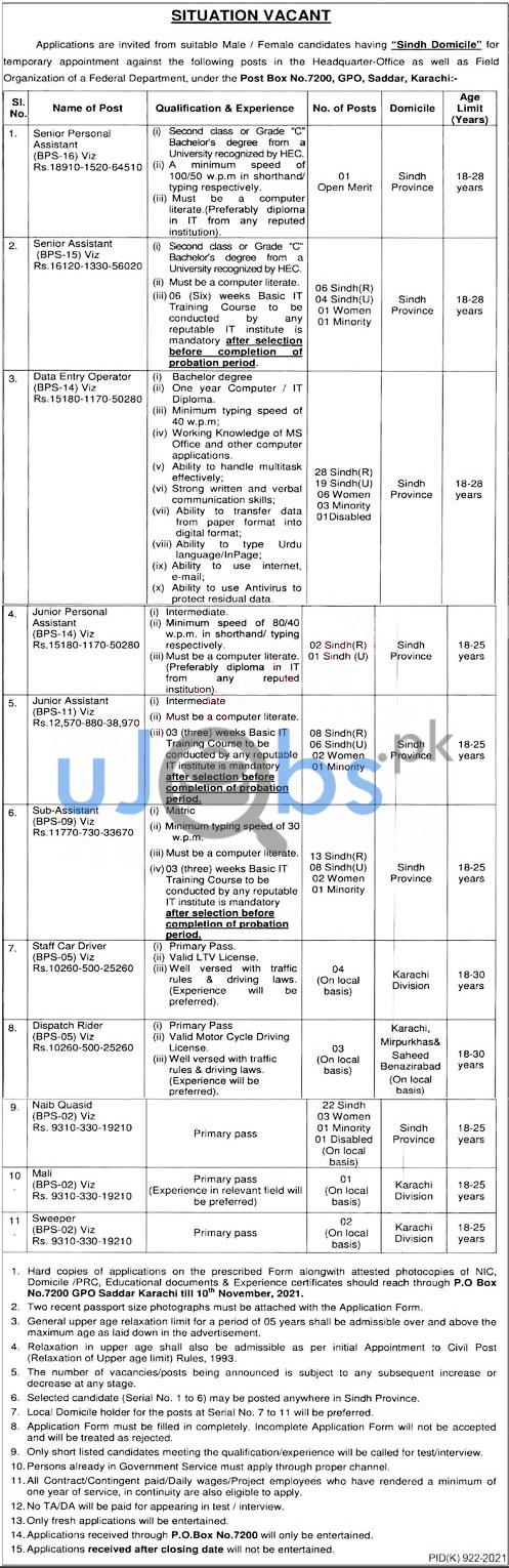 Latest Federal Government Department Jobs october 2021 advertisement