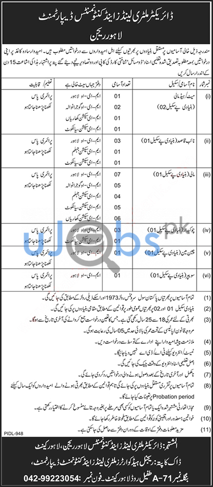 Latest Military lands and cantonment department jobs 2021 Advertisements