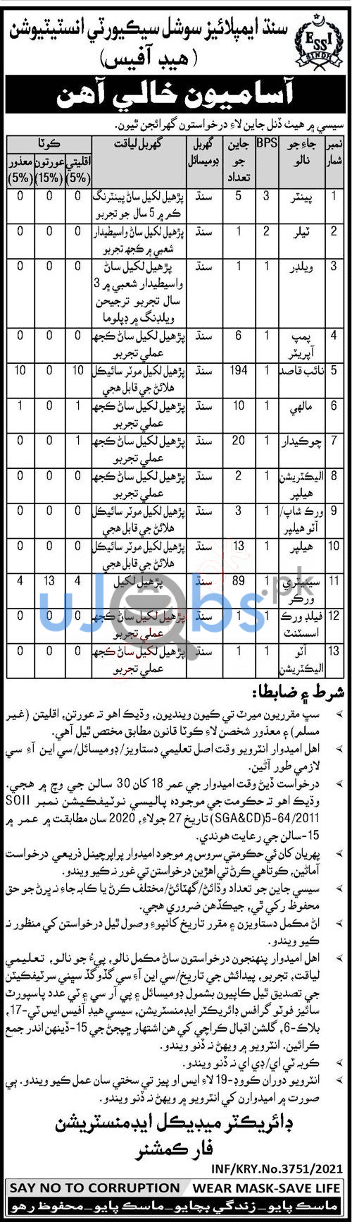 Latest Sindh employees social security institution SESSI jobs 2021 Advertisements