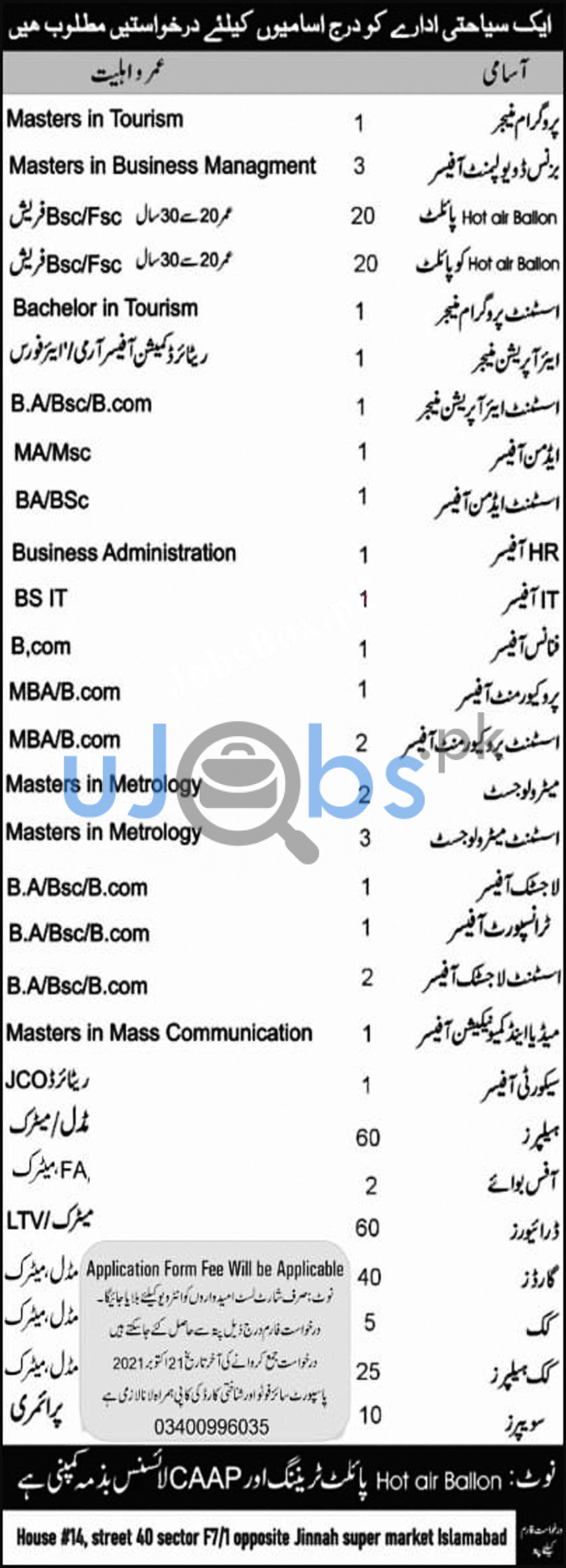 Latest Travel agency jobs in Islamabad 2021 advertisement