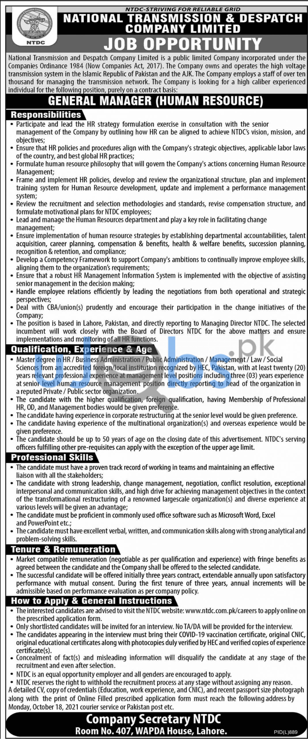 National Transmission and Despatch Company NTDC Jobs 2021